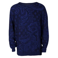 Etro Navy Blue Cotton Cashmere Patterned Knit Sweater 2XL