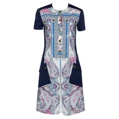 Etro Navy Blue Paisley Print Cotton Button Front Dress S