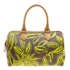 Etro Neon Green Paisley Printed Coated Canvas Satchel