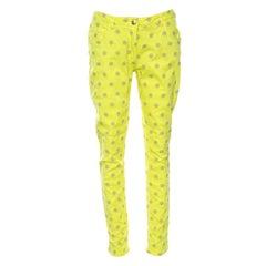 Etro Neon Yellow Geometric Motif Embroidered Denim Skinny Jeans M
