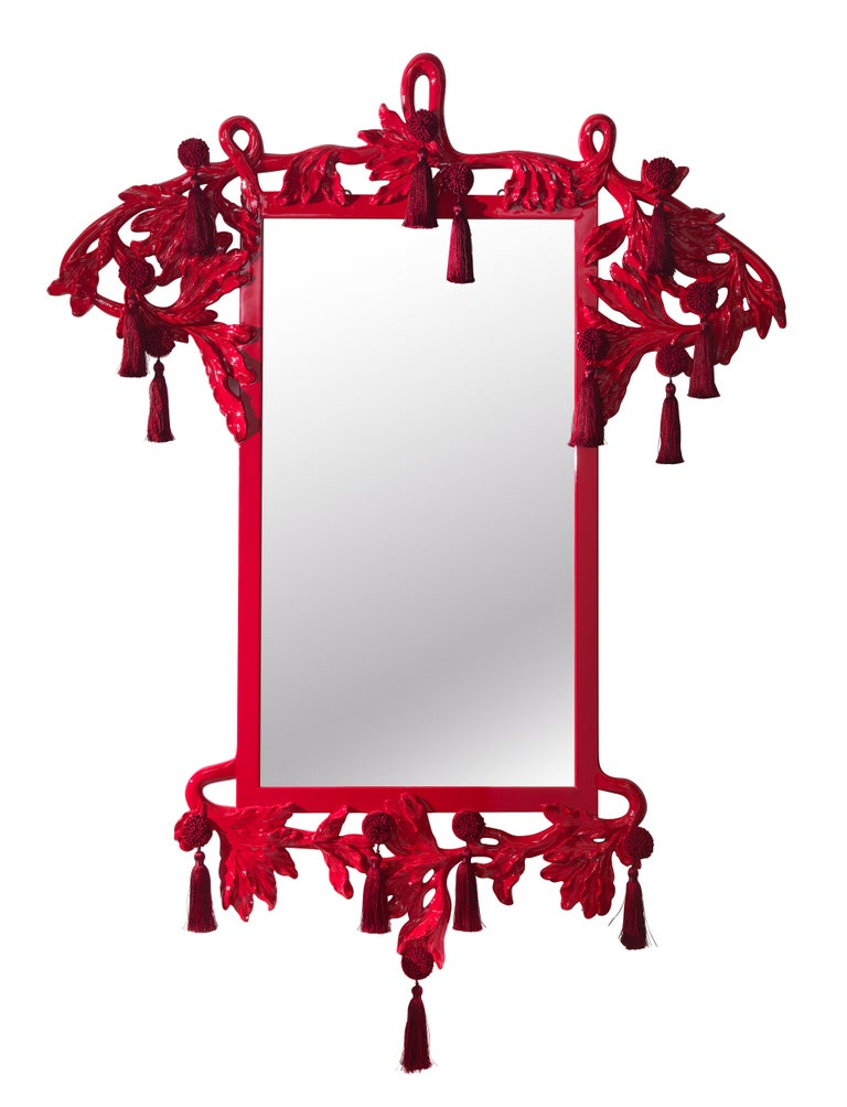 Modern Etro Nymph Natural Mirror in Red For Sale