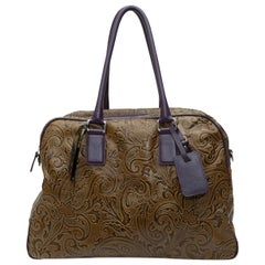 Etro Olive Green & Dark Purple Paisley Handbag