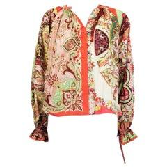 ETRO orange cotton POPLIN PAISELY Bishop Sleeve Button-Up Blouse Shirt 40 S