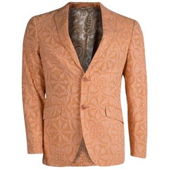 Etro Orange Floral Applique Detail Cotton Blazer M