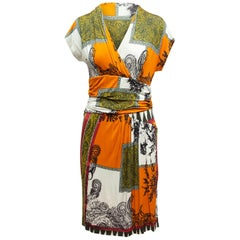 Etro Orange & Multicolor Abstract Print Dress