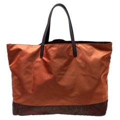 Etro Orange Paisley Nylon Reversible Shopper Tote
