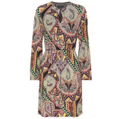 Etro Paisley Print Long Sleeve Jersey Dress Size 40