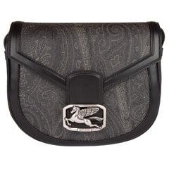 Etro Pegaso Grey/Black Paisley Printed Leather Shoulder Bag w/ Adjustable Strap