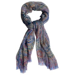 "Etro Periwinkle Blue Paisley Printed  66"" Sheer Silk Delhy Scarf w/ Fringed Edge"