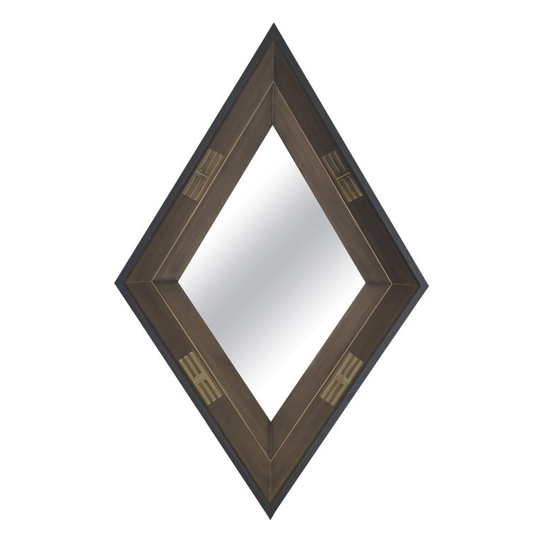 Etro Perseus Mirror in Bronze Wood with Polished Brass For Sale