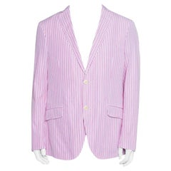 Etro Pink and White Striped Cotton Tailored Blazer L