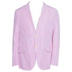 Etro Pink and White Striped Cotton Tailored Superleggera Blazer XL