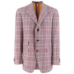 Etro Pink Checked Single Breasted Cotton Jacket L 50