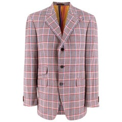 Etro Pink Checked Single Breasted Cotton Jacket - Size Large 50