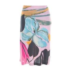 Etro Pink Floral Printed Nylon Skirt M