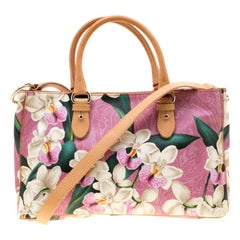 Etro Pink/Light Brown Floral Paisley Printed Coated Canvas Tote