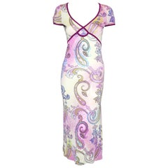 Etro Pink Multi Paisley Print Empire Waist Midi Dress