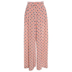 Etro Pink Printed Silk High Waist Wide Leg Pants M