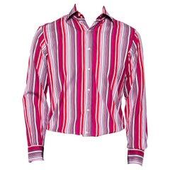 Etro Pink Striped Cotton Button Front Shirt M