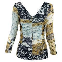Etro Printed Shirred Mesh Jersey Mix Print Top