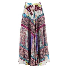 Etro Printed Silk Crepe De Chine Maxi Skirt IT 46 UK 14