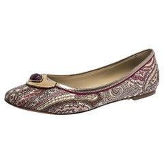 Etro Purple Paisley Printed Coated Canvas Embellished Ballet Flats Size 41