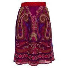 Etro Purple Paisley Printed Silk Mini Skirt M