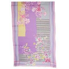ETRO purple pink FLORAL & PLAID cashmere Oblong Scarf Shawl