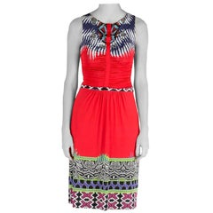 Etro Red Abstract Print Stretch Knit Ruched Front Sleeveless Midi Dress S