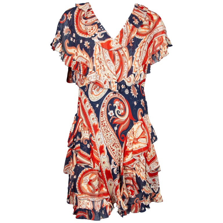 Etro Runway Red & Blue Paisley V-Neck Tiered Ruffle Silk Dress Size 42 For Sale