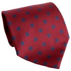 Etro Red Blue Silk Classic Evening Polka Dot Tie