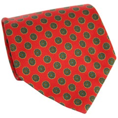 Etro Red Blue Silk Polka Dot Classic Tie