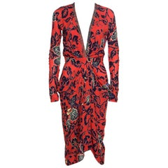 Etro Red Floral Print Embellished Plunge Neck Detail Draped Midi Dress S