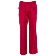 Etro Red Silk Straight Leg Trousers L