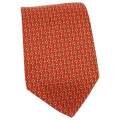 Etro Red Yellow Silk Geometric Designs Evening Classic Tie