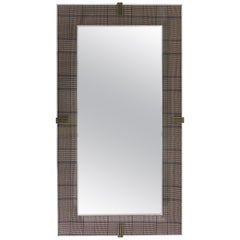 Etro Renè Long Mirror in Wood, Houndstooth Fabric and Glass