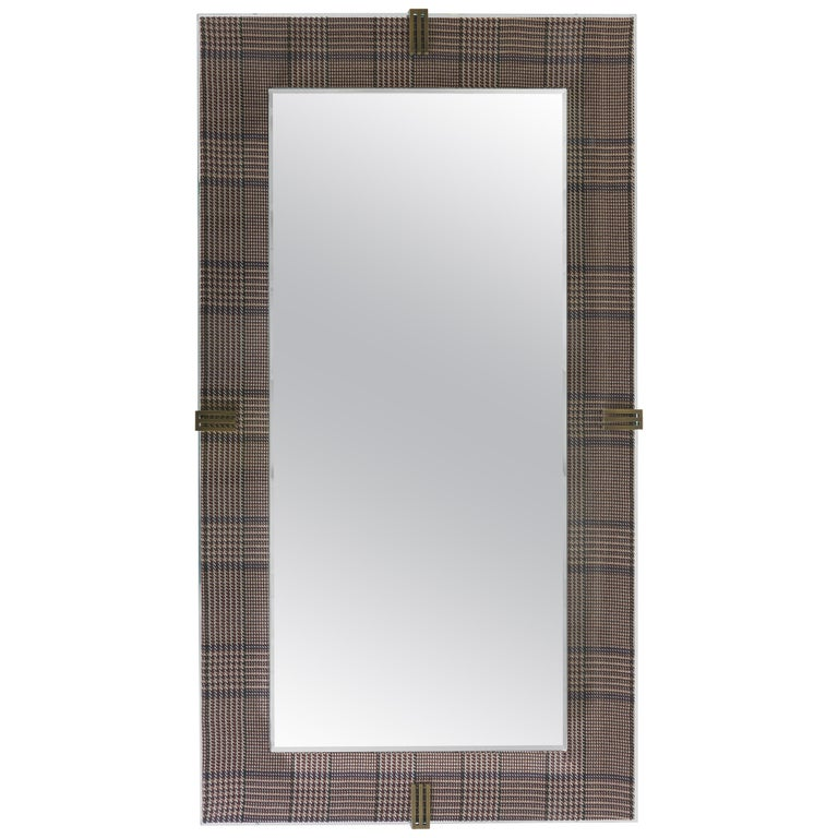 Etro Renè Long Mirror in Wood, Houndstooth Fabric and Glass For Sale