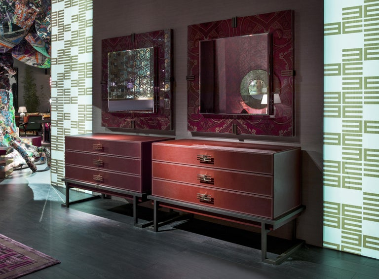 Contemporary Etro Renè Mirror in Wood, Paisley and Glass For Sale