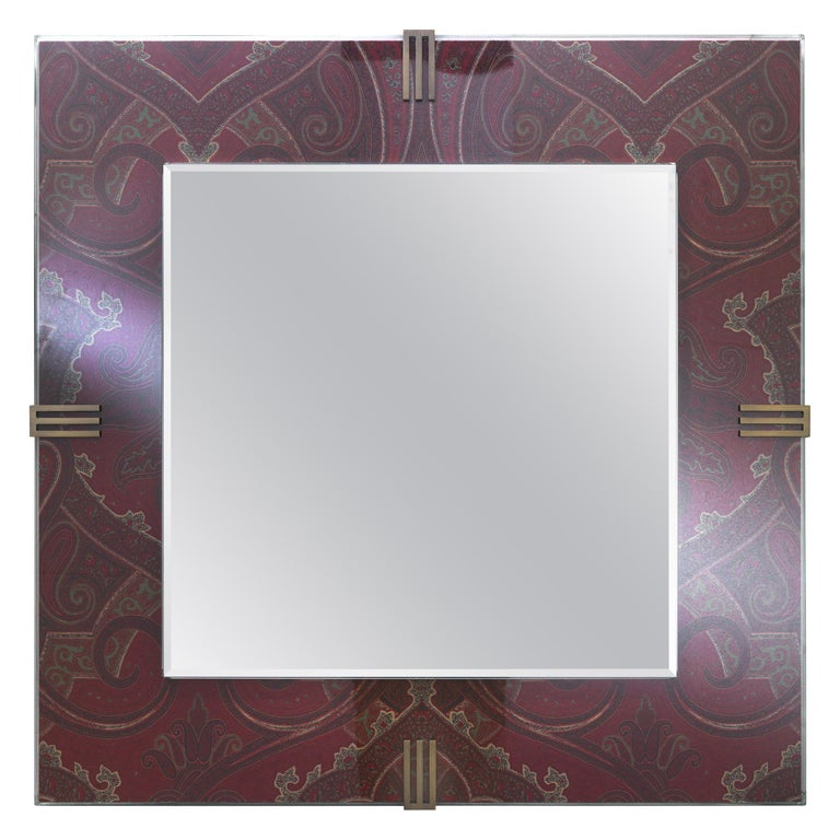 Etro Renè Mirror in Wood, Paisley and Glass For Sale