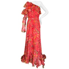 Etro Romantic Silk Paisley Ruffled Evening Dress with One Sleeve
