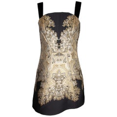 Etro Runway Black & Gold Embroidered Jacquard Cocktail Dress Size 40