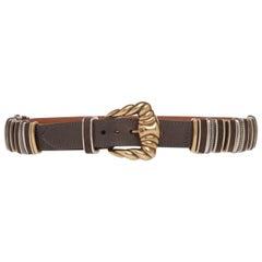 Etro Runway Brown Leather Gold Buckle Belt Size Medium