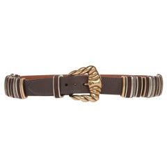 Etro Runway Brown Leather Gold Buckle Belt Size Small