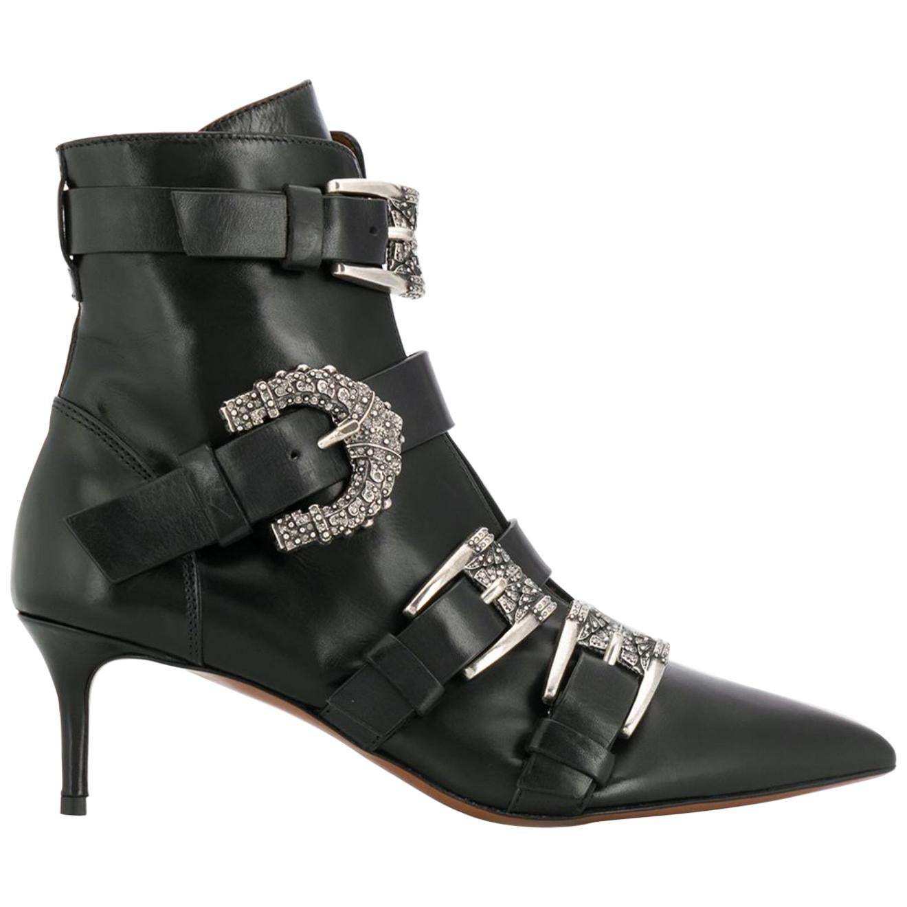Etro Runway Embellished Side Buckle Black Leather Ankle Boots Size 36