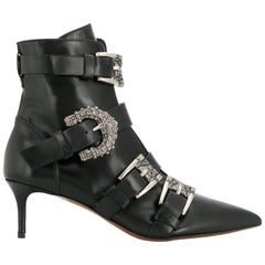 Etro Runway Embellished Side Buckle Black Leather Ankle Boots Size 39