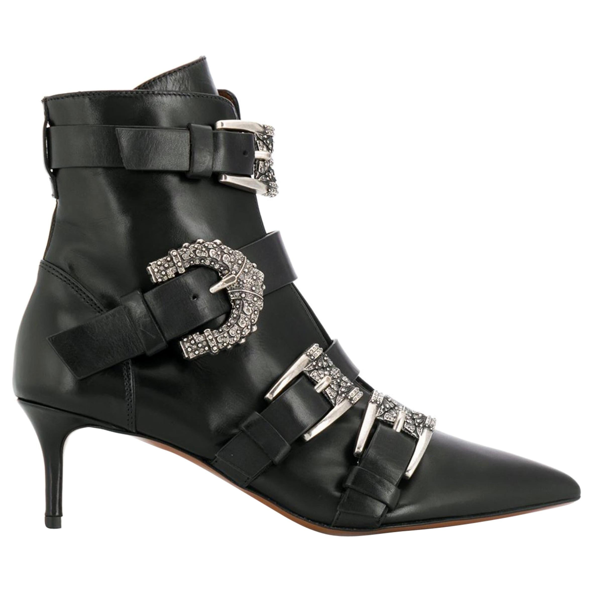 Etro Runway Embellished Side Buckle Black Leather Ankle Boots Size 40