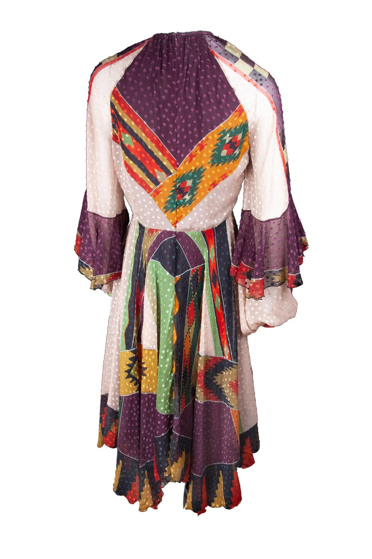 Black Etro Runway Long Sleeve Multicolor Print Silk Midi Dress Size 42 For Sale