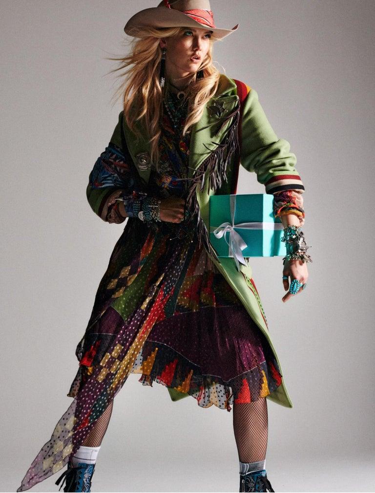 Women's Etro Runway Long Sleeve Multicolor Print Silk Midi Dress Size 42 For Sale