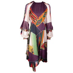 Etro Runway Long Sleeve Multicolor Print Silk Midi Dress Size 42