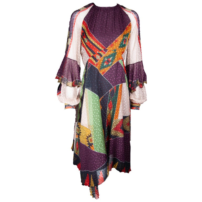 Etro Runway Long Sleeve Multicolor Print Silk Midi Dress Size 42 For Sale
